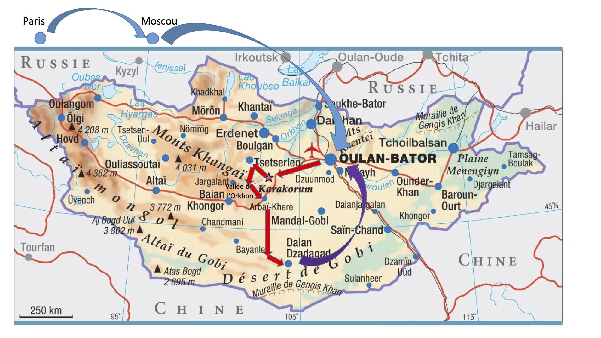 Itinéraire Mongolie