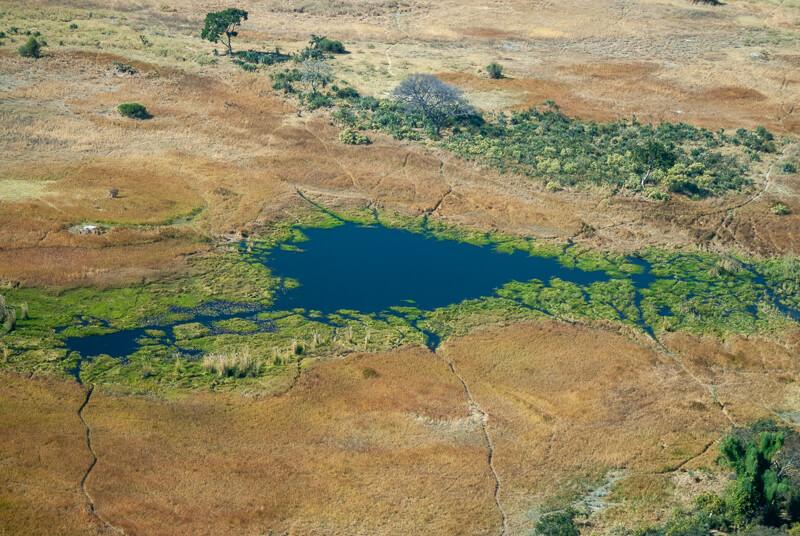 Afrique australe, Botswana - Le delta de l'Okavango vue d'avion