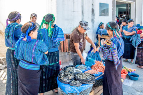 Poissons et crustacés sur le marché de San Antonio Palopo