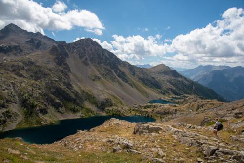 Mercantour, lacs de Vens -  vue sur les lacs depuis le col de fer